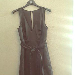 White House Black Market, Black Vneck Flare dress